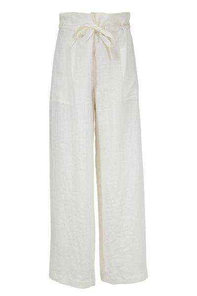 Nili Lotan - Esmae Natural White Linen Wide Pant