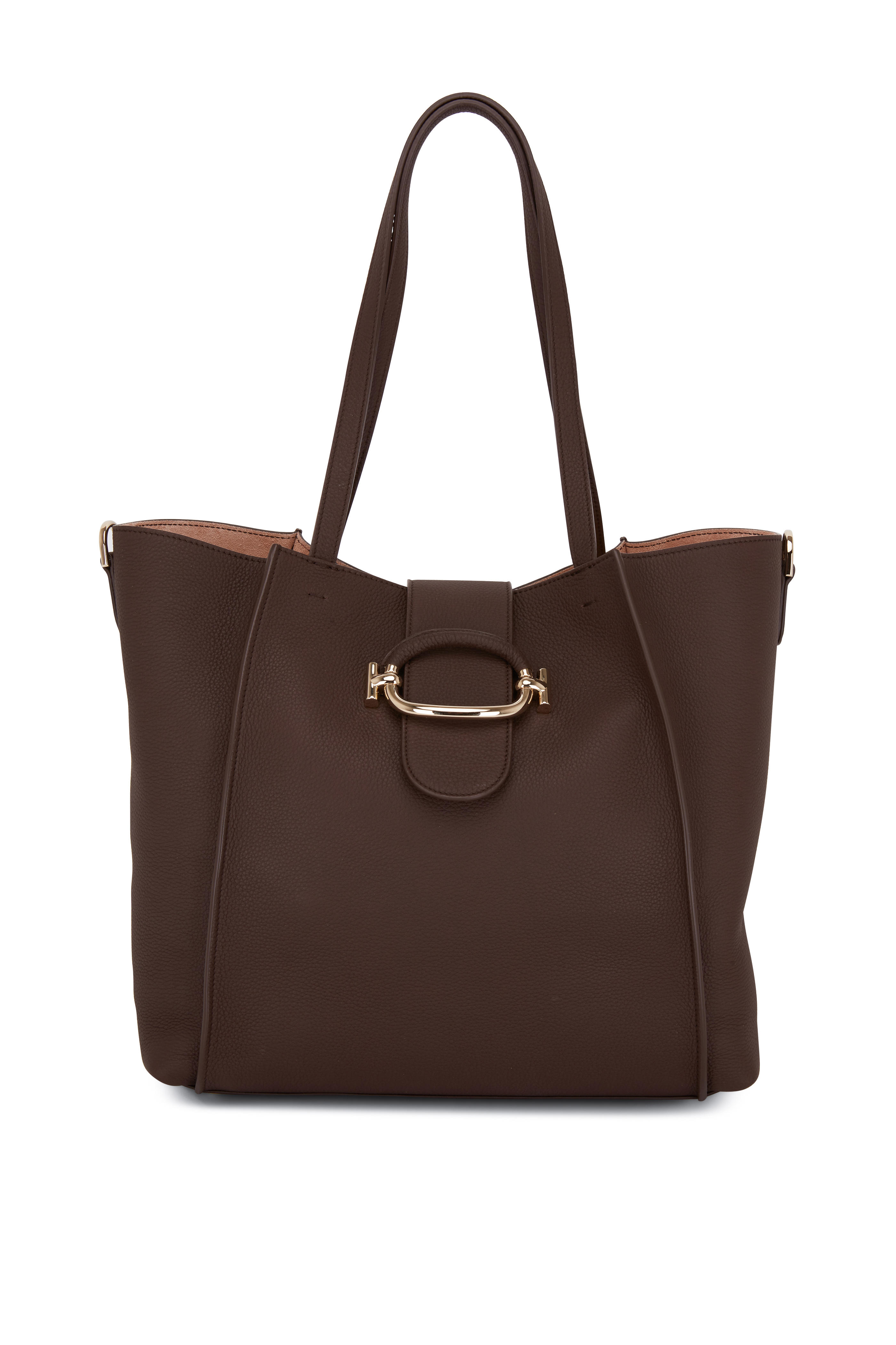 18a96ba43011 Tod s - Brown Grained Leather Medium Tote Bag