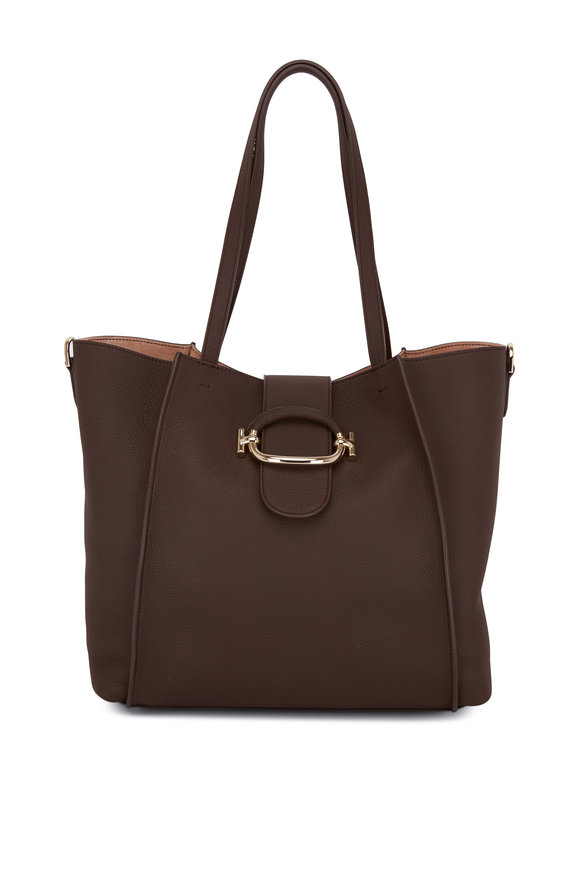 Tod's Brown Grained Leather Medium Tote Bag