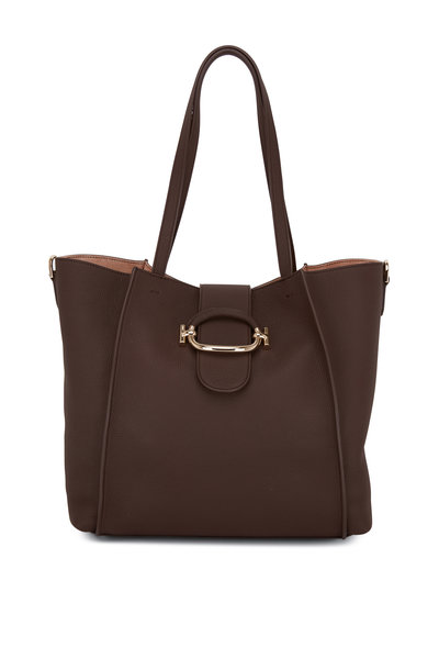 Tod's - Brown Grained Leather Medium Tote Bag
