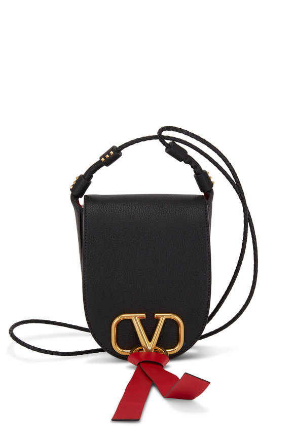 Valentino Garavani VRing Black & Red Leather Small Saddle Bag