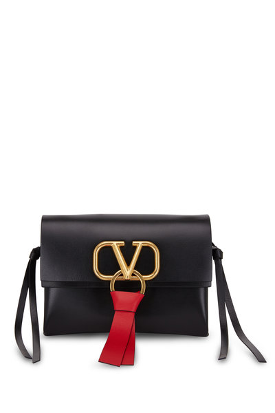 Valentino Garavani - VRing Black & Red Leather Small Crossbody Bag