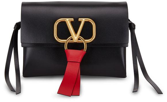Valentino Garavani VRing Black & Red Leather Small Crossbody Bag