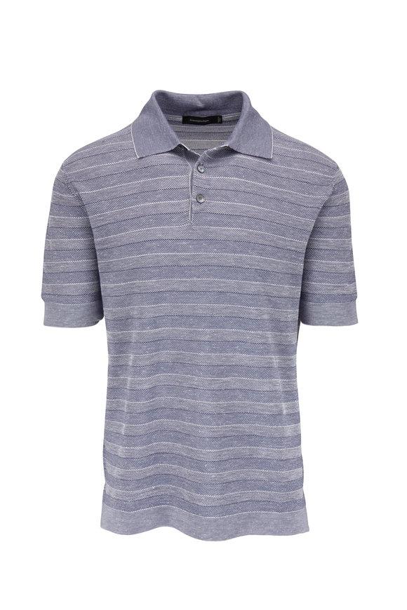 Ermenegildo Zegna Navy Blue Cotton Blend Striped Polo