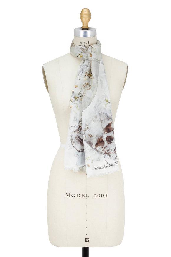Alexander McQueen Ophelia Ivory Skull Printed Scarf