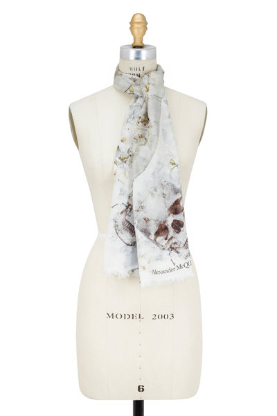Alexander McQueen - Ophelia Ivory Skull Printed Scarf