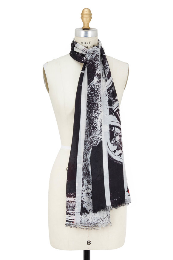 Alexander McQueen Black & Red Poppies Printed Scarf