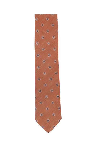 Eton - Orange Floral Silk & Linen Necktie