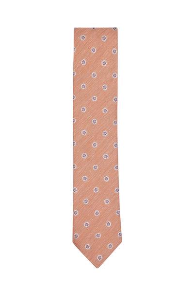 Eton - Orange Geo Dot Silk & Linen Necktie