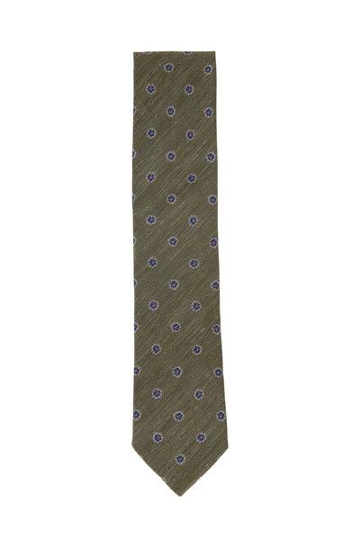 Eton - Green Flower Pattern Silk Blend Necktie