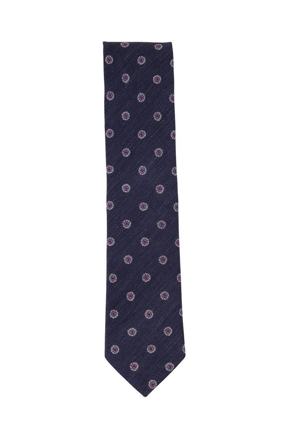 Eton Navy Blue Floral Silk Blend Necktie