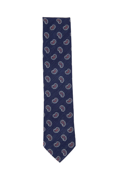 Eton - Navy Blue Paisley Silk Blend Necktie