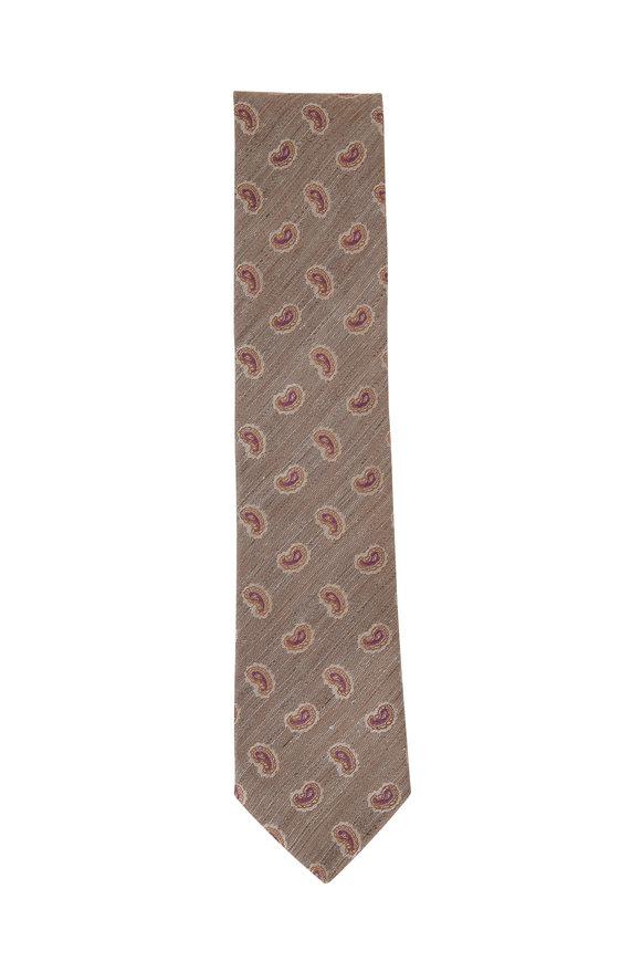 Eton Beige Paisley Silk Blend Necktie
