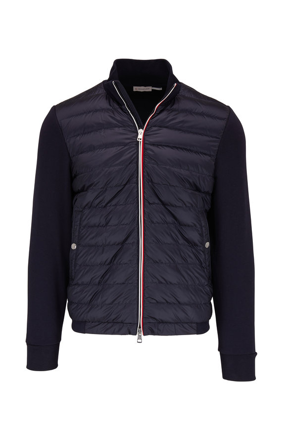 Moncler Navy Knit Sleeve Quilted Front Down Jacket