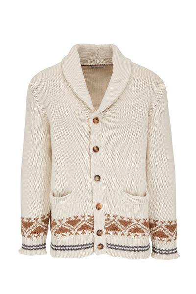 Brunello Cucinelli - Beige Cotton Shawl Button-Front Cardigan