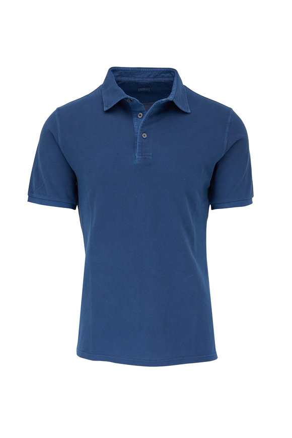 Fedeli Navy Frosted Piqué Short Sleeve Polo