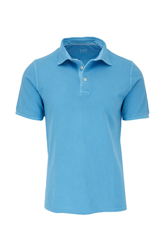 Fedeli Blue Frosted Piqué Short Sleeve Polo