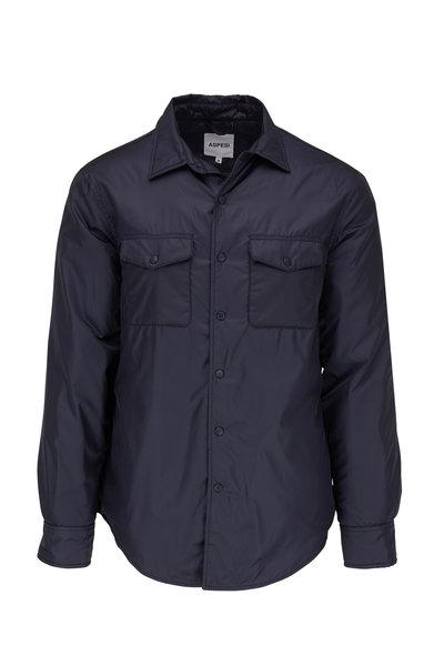 Aspesi - Navy Blue Nylon Front-Snap Shirt Jacket