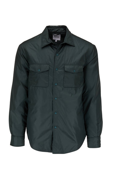 Aspesi - Green Nylon Front Snap Overshirt