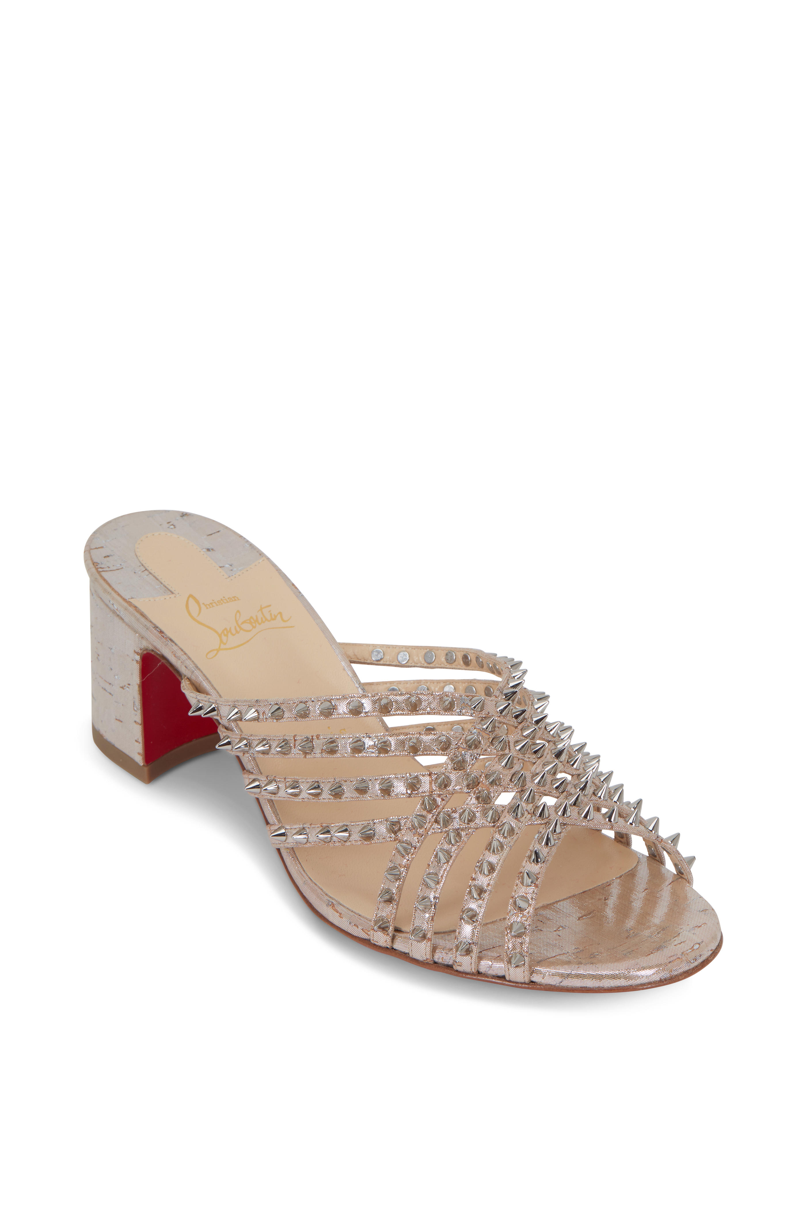 reputable site 8db74 8391f Christian Louboutin - Martha Silver Laminated Cork Spike ...