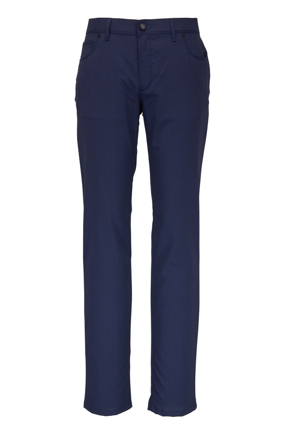 Hiltl Navy Blue Micro Pattern Five Pocket Pant