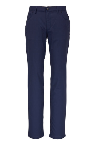 Hiltl - Navy Blue Micro Pattern Five Pocket Pant
