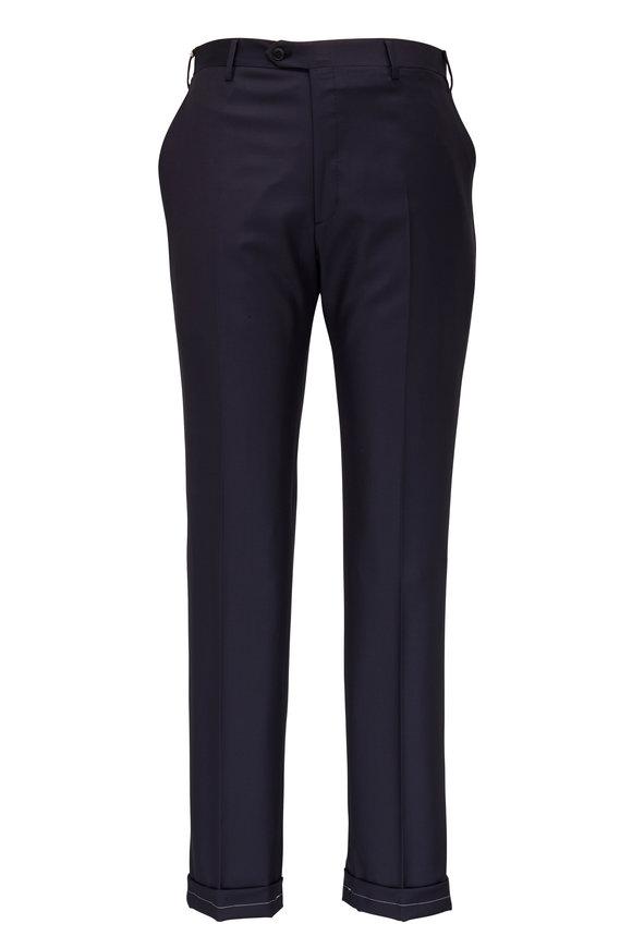 Brioni Navy Blue Wool Slim Dress Pant