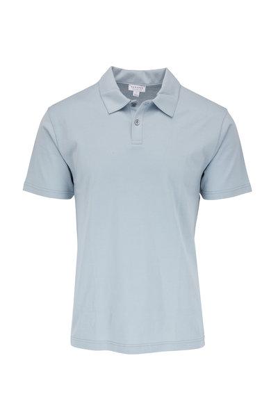 Sunspel - Light Indigo Jersey Polo