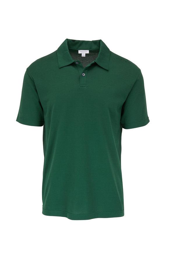 Sunspel Kale Jersey Short Sleeve Polo