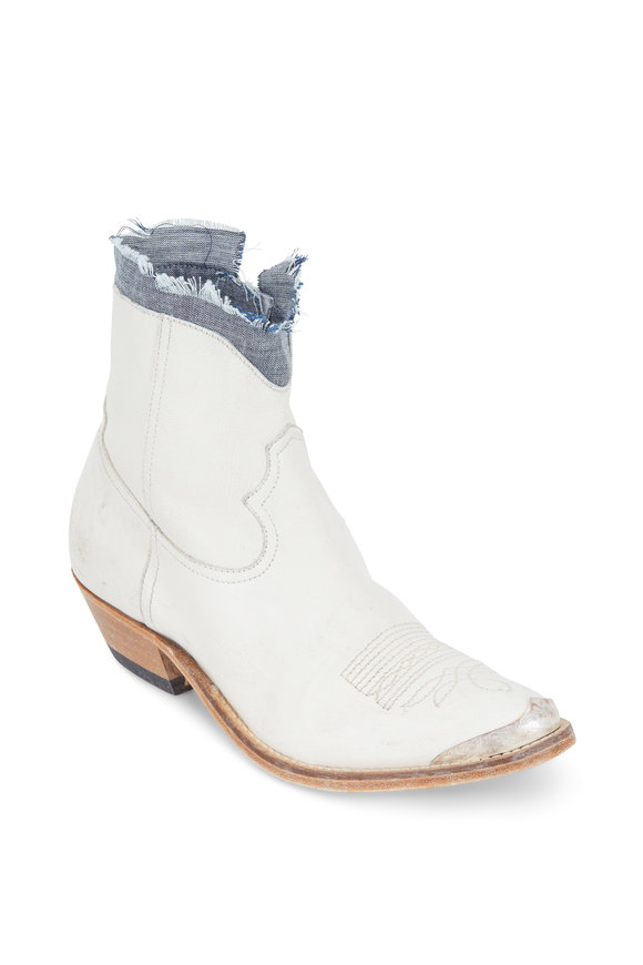 Golden Goose Young White Leather Denim Cuff Western Boot