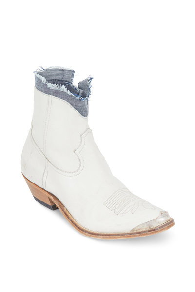 Golden Goose - Young White Leather Denim Cuff Western Boot