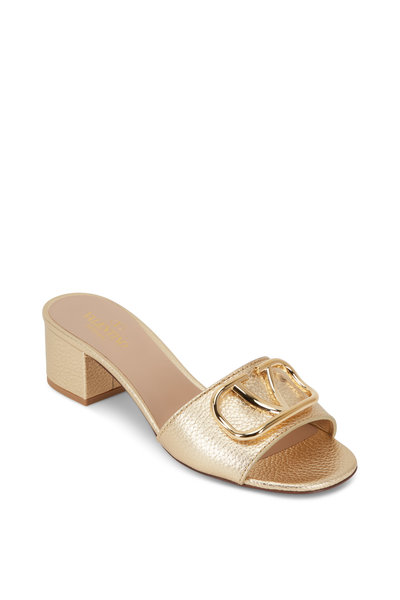 Valentino Garavani - Go Logo Gold Grained Leather Slide, 45mm