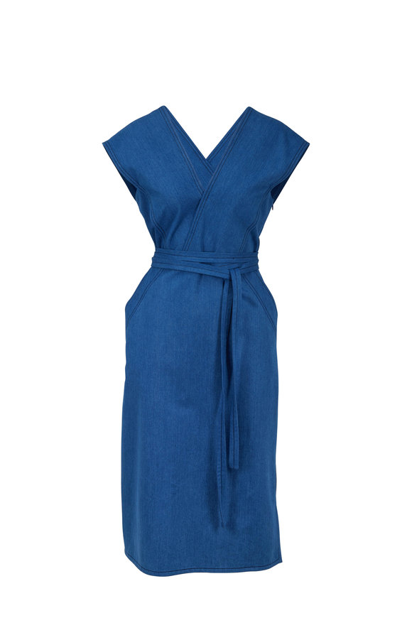 Derek Lam Light Indigo Cotton Wrap Dress