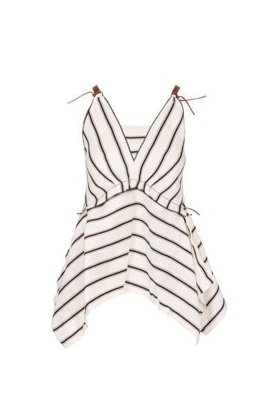 Dorothee Schumacher - Cream & Multicolor Striped Leather Detail Blouse