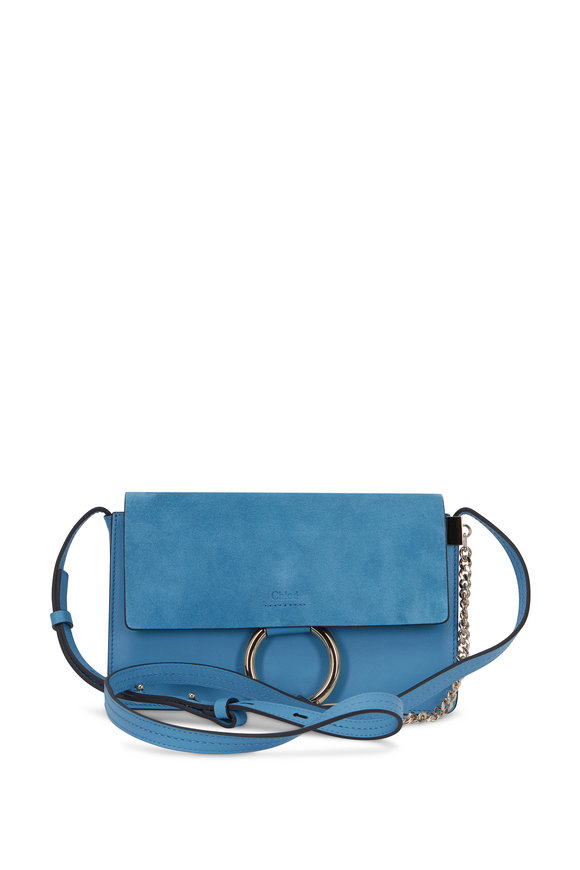Chloé Faye Tomboy Blue Leather & Suede Crossbody