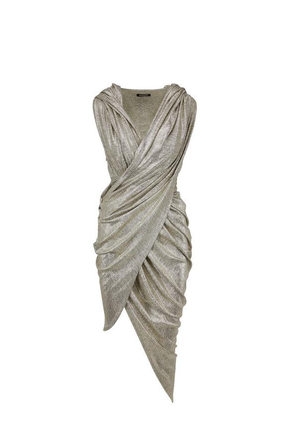 Balmain Silver Laminated Hooded Draped Dress