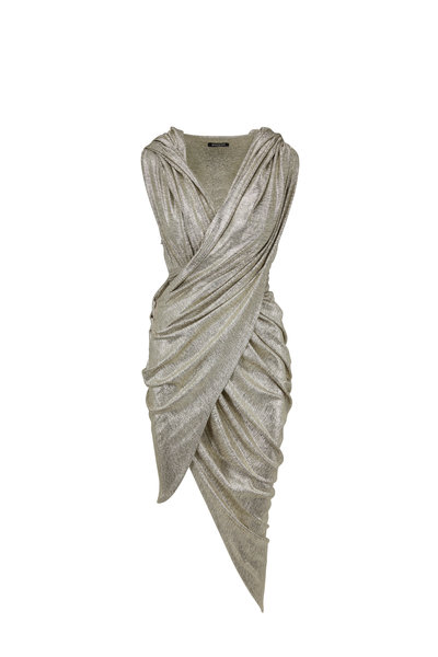 Balmain - Silver Laminated Hooded Draped Dress