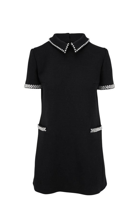 Saint Laurent Black Jersey Knit Rhinestone Trim Sixties Dress