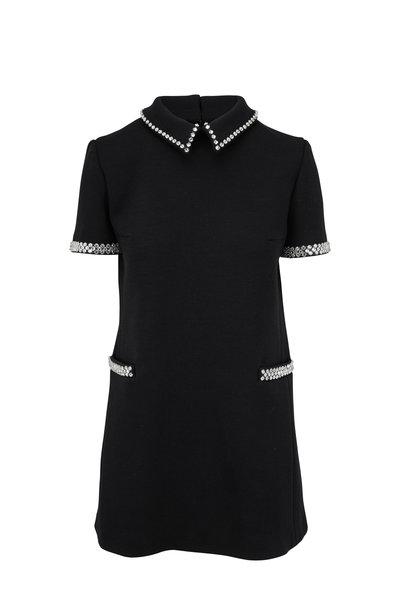 Saint Laurent - Black Jersey Knit Rhinestone Trim Sixties Dress