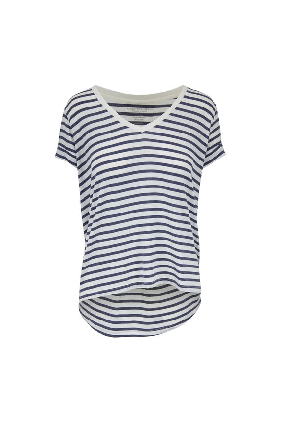 Majestic Blue & White Striped Superwashed Deluxe T-Shirt