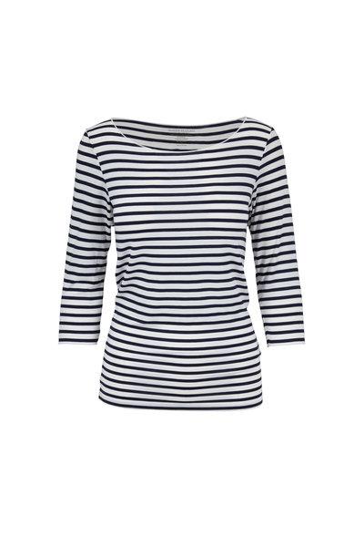 Majestic - Navy & White Striped Superwashed T-Shirt