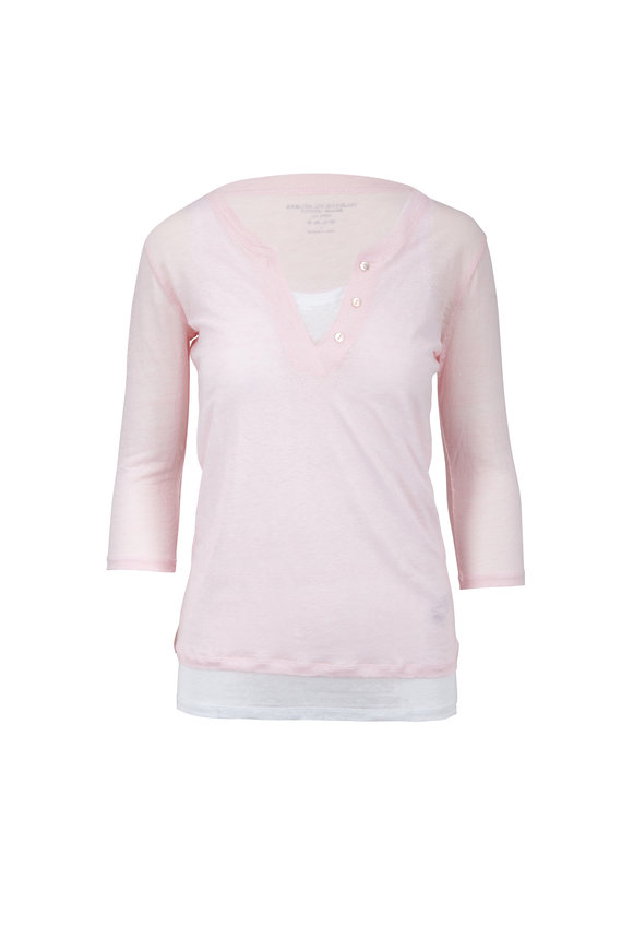 Majestic Light Pink & White Double Layer Deluxe T-Shirt