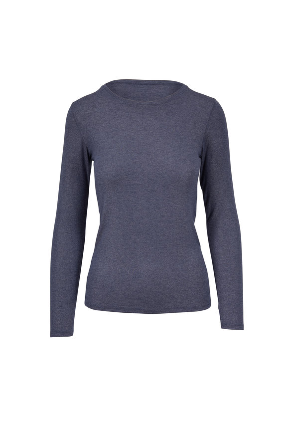 Majestic Navy Lurex Superwashed Deluxe Long Sleeve T-Shirt