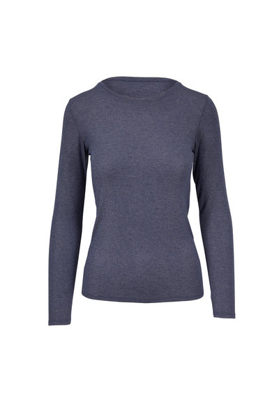 Majestic - Navy Lurex Superwashed Deluxe Long Sleeve T-Shirt