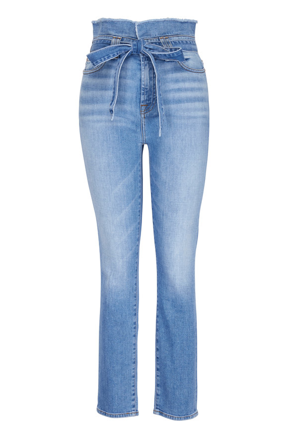 7 For All Mankind Roxanne Paperbag Waist Bright Blue Jay Jean