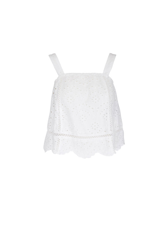 7 For All Mankind White Eyelet Scalloped Tank