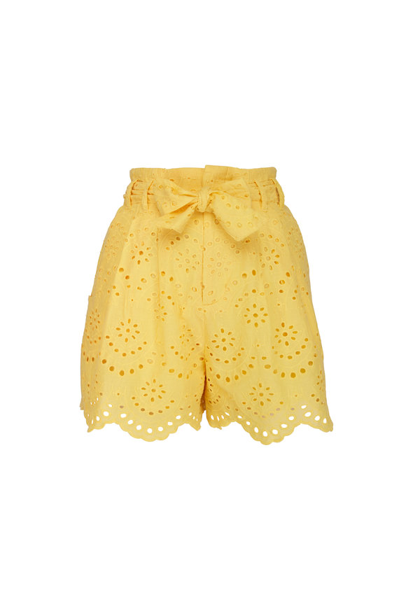 7 For All Mankind Dandelion Yellow Eyelet Shorts