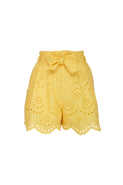 7 For All Mankind - Dandelion Yellow Eyelet Shorts