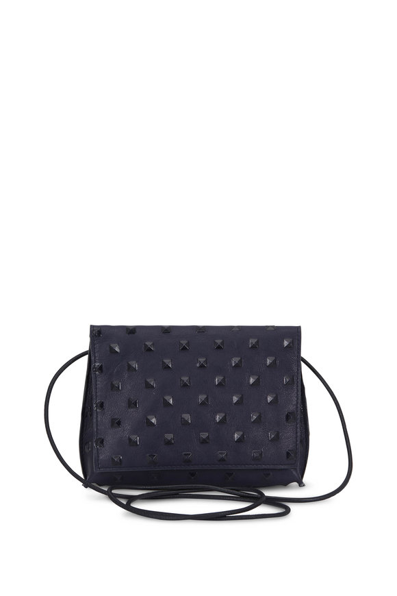 B May Bags Navy Blue Leather Studded Small Crossbody