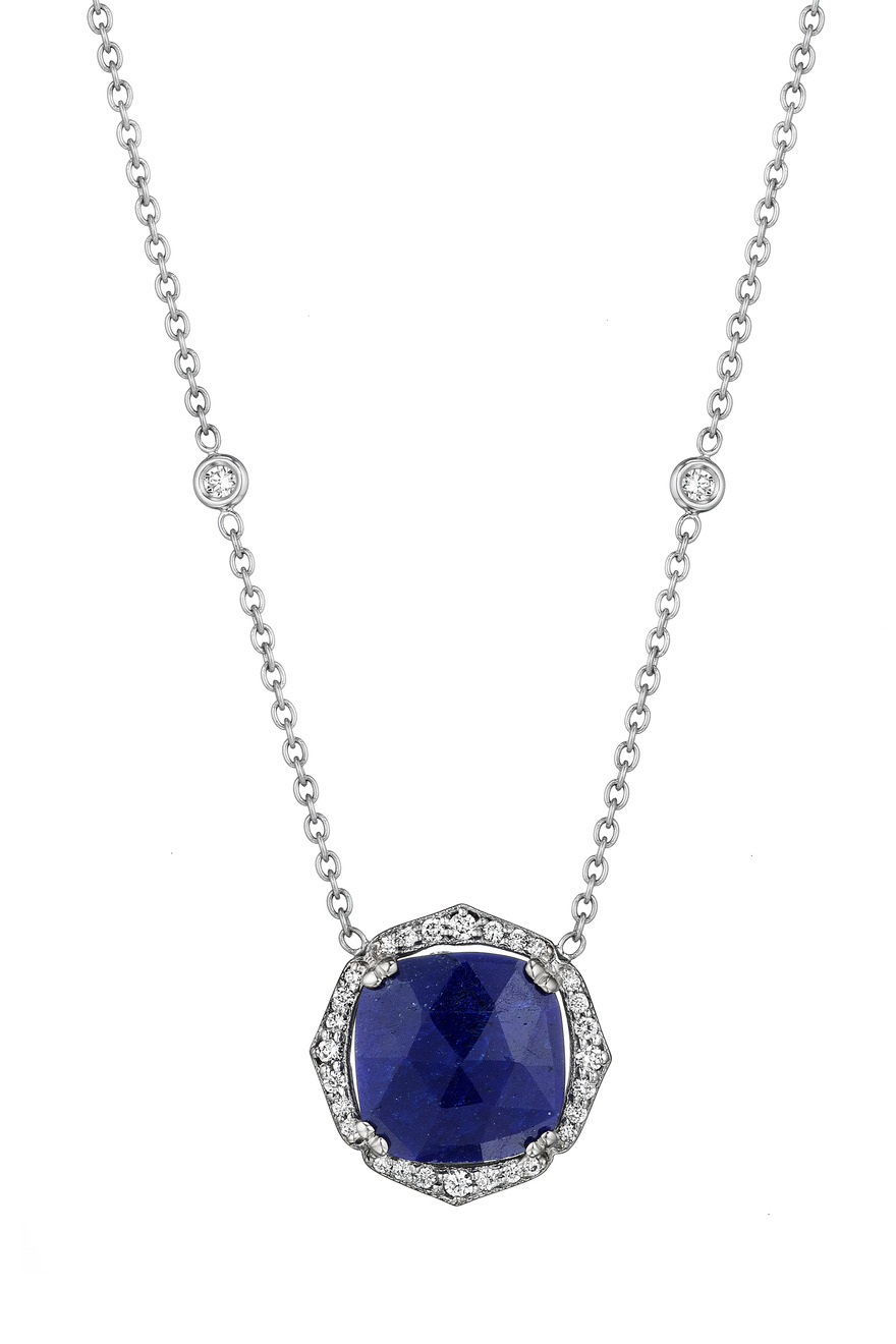 Diamond Blue Sapphire White Gold Necklace